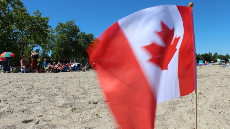 Canadian Flag on Beach