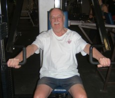 John Rislahti works out in the gym