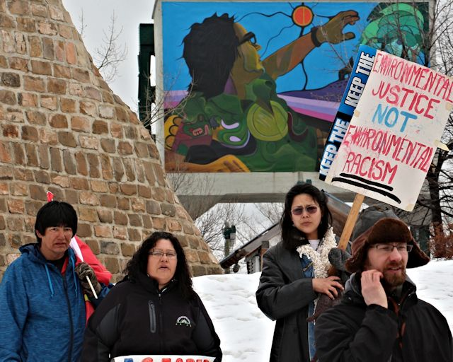 Winnipeg, April 21, 2013: Some of the participants in the 10th annual Seventh Generation Walk for Mother Earth, at the Odena Circle at The Forks. Photo: Paul S. Graham