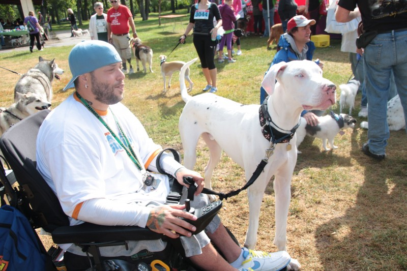 Tyler Keith and his Great Dane McCoy, one of the larger dogs at the Woof Walk 2013. /MARNEY BLUNT