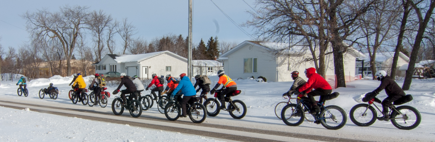 A swarm of bikers leaving St. Adolphe on Saturday morning