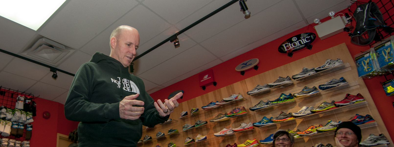 Race Director Dwayne Sandall demonstrating what not to do with your GPS during the race!
