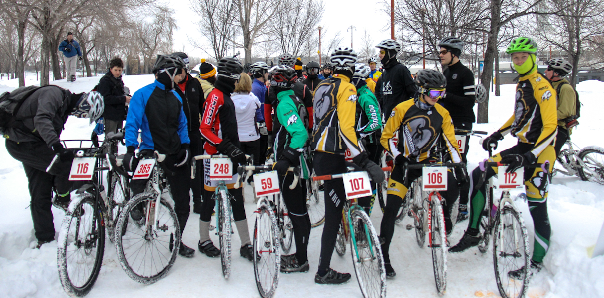 Racers get together for last year's Icebike at the Forks