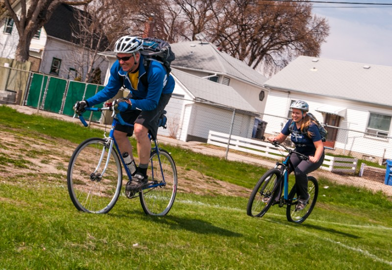 Jason Carter and Tessa Blaikie demonstrating the fun Cyclocross racing that will be held in the field at the Clara Hughes Recreational Complex on Saturday, June 14