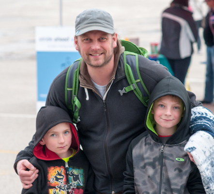 Joel Toews and his sons Joshua and Lucas coming out to the races for their first time