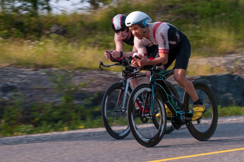 Dan Morwood, local star Triathlete, dominates the bike portion of the racing in Kenora