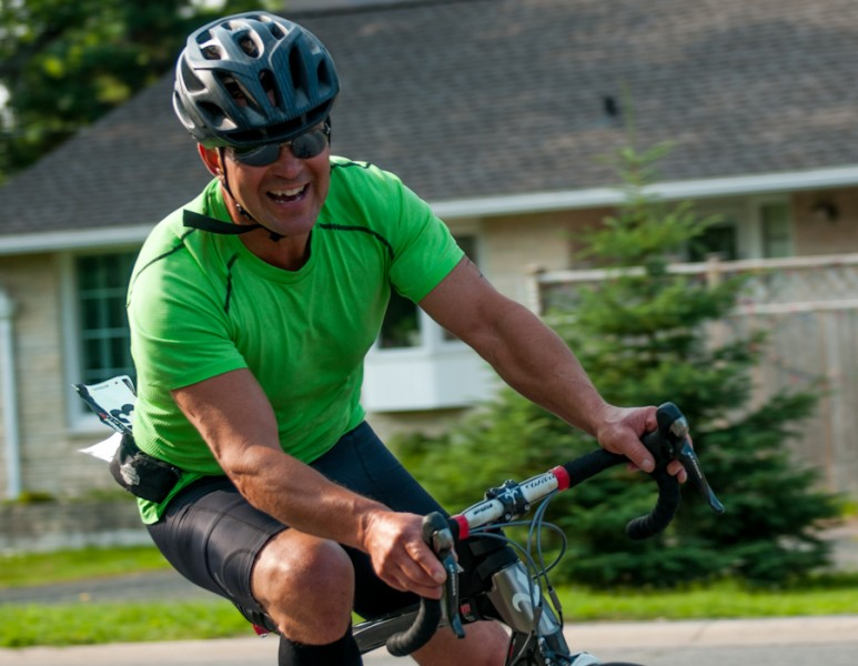Wayne King, 53, having a good time competing in the Duathlon race held at the 10th annual Kenora Borealis Triathlon