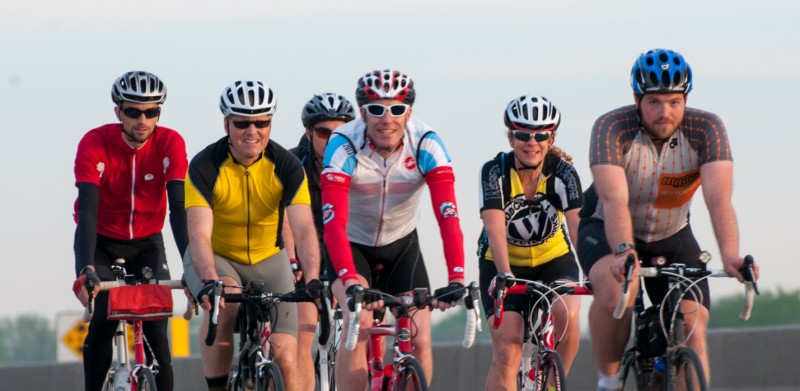 Second from the right is Candy Badger, a local active sportswomen who belongs to the Manitoba Randonneurs - this is from an earlier 200 km Brevet