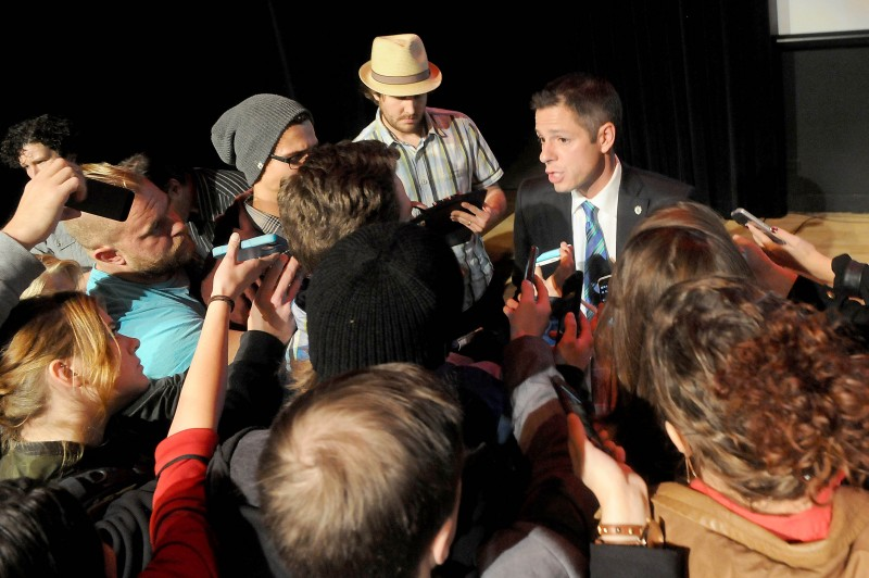 Brian Bowman speaks to reporters after the YVS Mayoral Forum.
