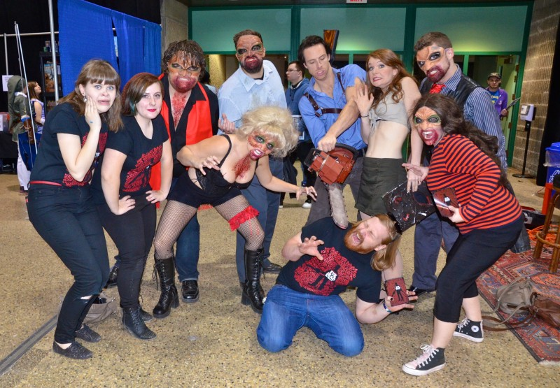 The cast and some of the crew from Evil Dead: The Musical (with producer Quinn on the ground) showed up at Comic Con