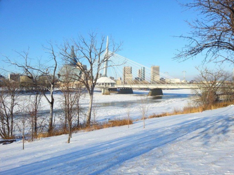 Open water is evident along the Red River at the Provencher Bridge.