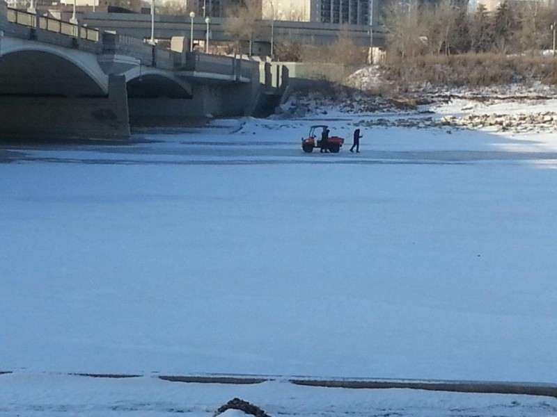 Crews checking the thickness of the ice.