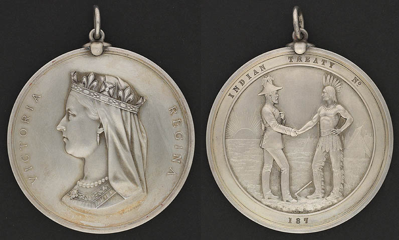The Indian Chiefs Medal bearing the effigy of Queen Victoria.