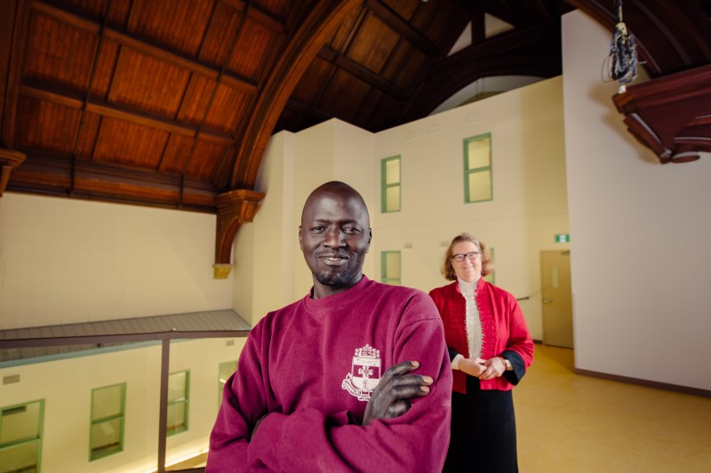 Abraham Kuol and Rev. Cathy Campbell at WestEnd Commons. Photo credit: Ian McCausland for The Winnipeg Foundation.