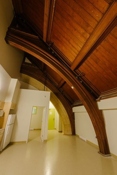 A WestEnd Commons  apartment which features the church's original wood ceiling.  PHOTO: Ian McCausland for The Winnipeg Foundation.