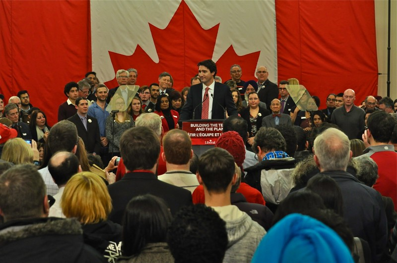 Justin Trudeau addresses the packed room at the Punjab Cultural Centre last night