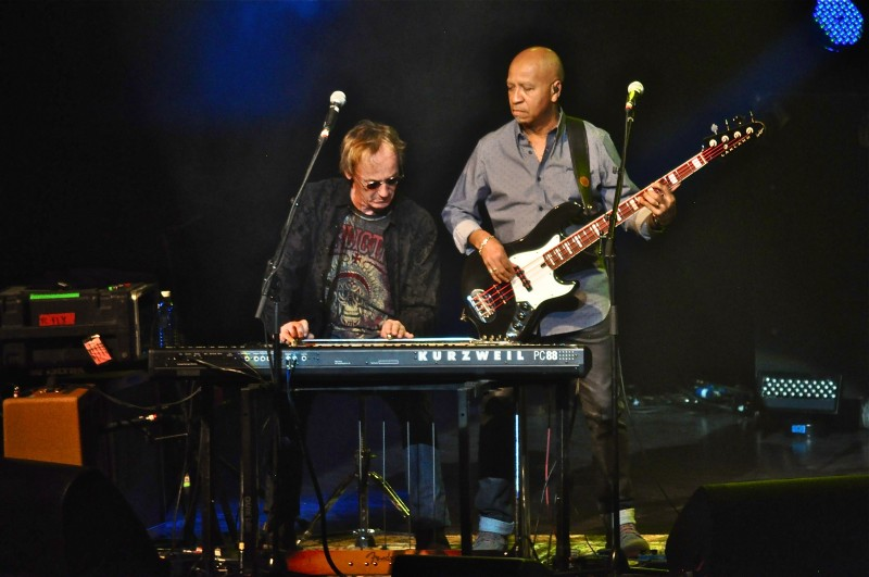 Ken Greer (left) plays   pedal steel guitar alongside bass player Jeff Jones. They both go back many years playing with Tom Cochrane