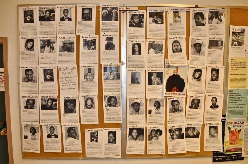 Bulletin board at U of W features photos of unarmed African americans killed by police over the years