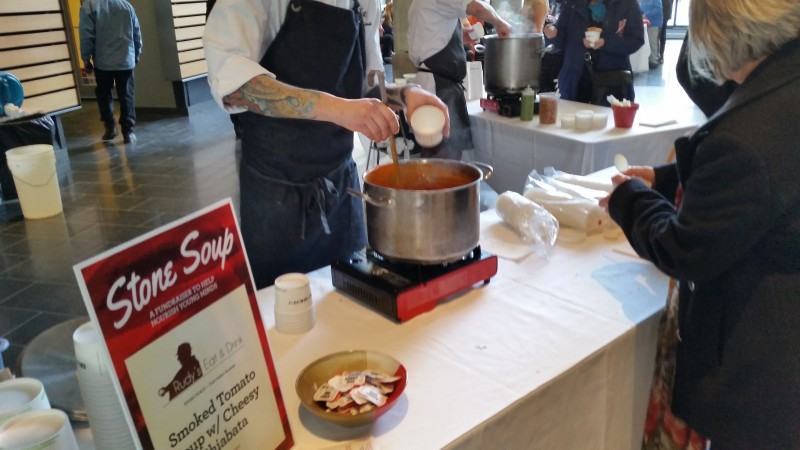 A smoked tomato soup was one of more than twelve soups available to taste at Stone Soup 2015. (Photo: Nolan Bicknell)