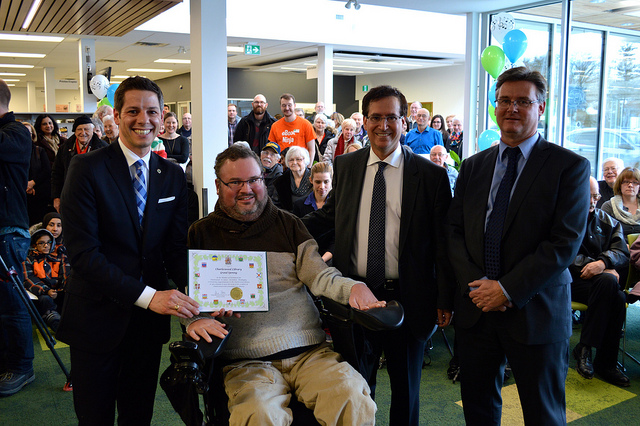 (L-R) Mayor Brian Bowman, MP Steven Fletcher, Councillor Marty Marantz and Library Services Manager Rick Walker, attend opening.