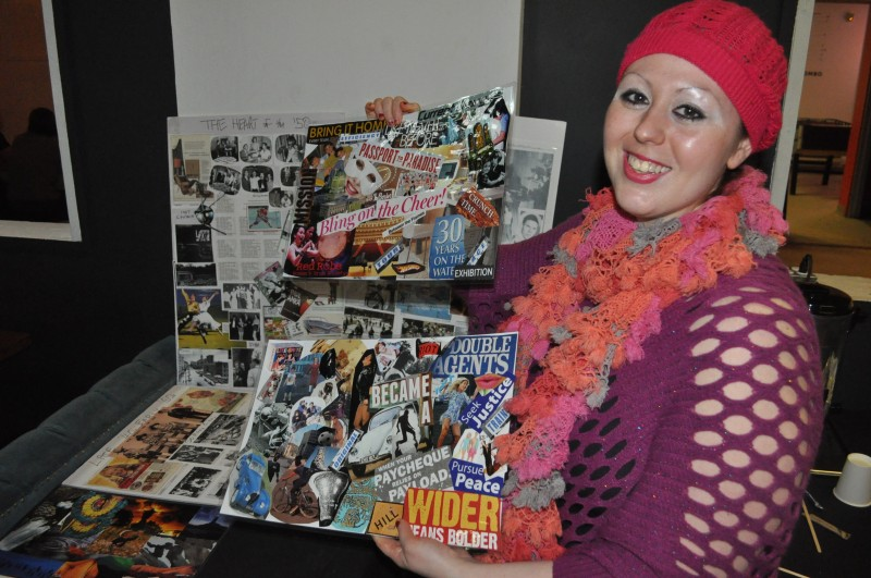 Stephanie Strugar displays collages she made for the video