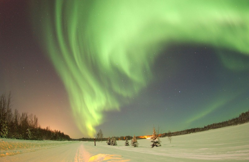 Northern lights, a common sight in northern Canada.