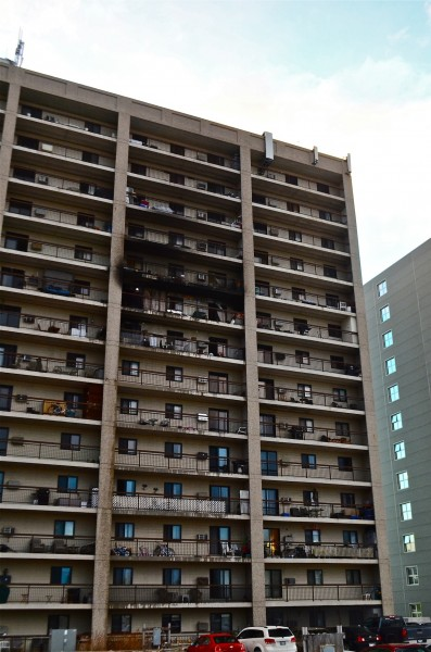 The fire started on the ninth floor of the 14 floor apartment block