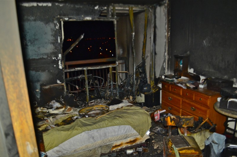 The ninth floor suite where the fire allegedly started