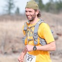 Chad Kol enjoying the last few hundred meters of his run at the 2014 Spruce Woods Ultra