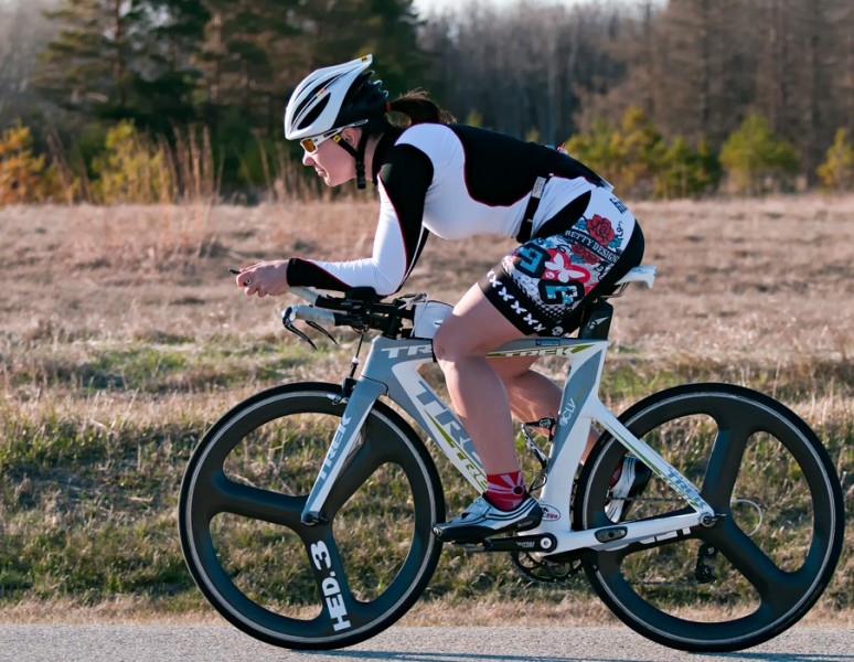 Local triathlete Bernadine Cheguis during the Time Trial