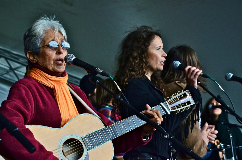 Joan Baez (left) was a popular draw at workshop stage last year.