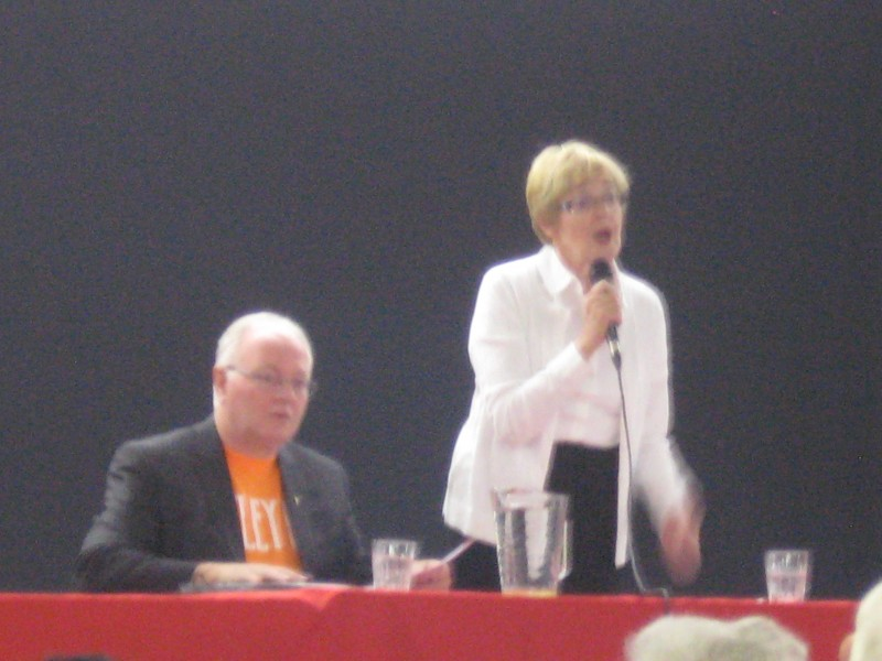 Maude Barlow speaking at the forum on democracy.