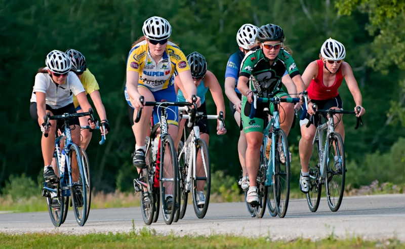 Mary Prendergast (yellow) and Natalie Young (green) lead the Road Race last year