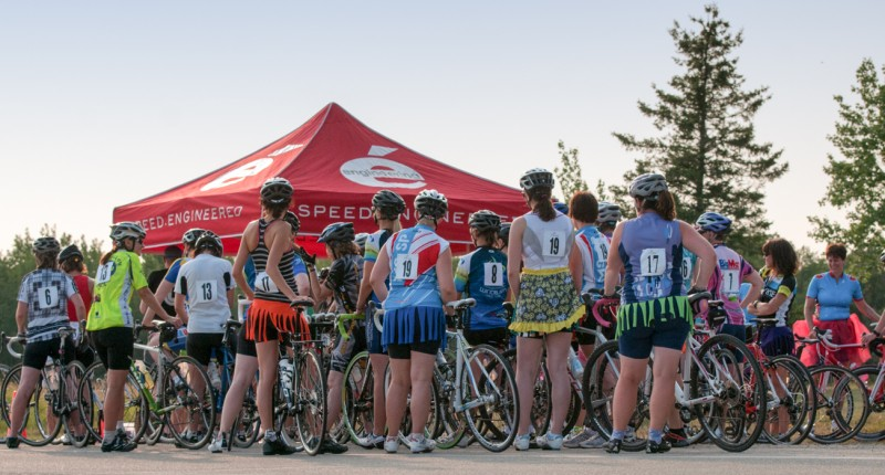 The Dirt Skirt women gather around the tent at Bird's Hill Park last year for a safety briefing