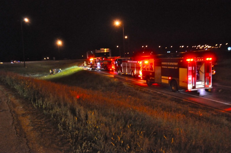 Many emergency vehicles lined Exit 318A to the Perimeter South