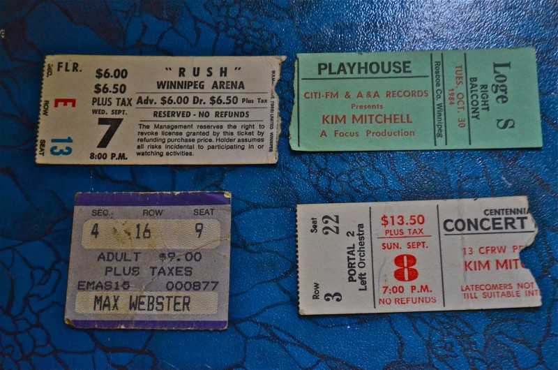A few concert stubs from the many Max Webster/ Kim Mitchell shows I've seen including the Rush show ($6.00) in '77
