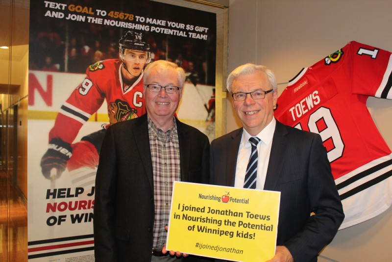 Premier Greg Selinger (right) with Rick Frost, CEO of The Winnipeg Foundation.