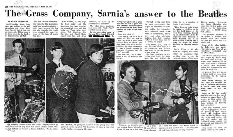 The Windsor Star article from 1967. 14 year old Kim Mitchell was the youngest member of The Grass Company
