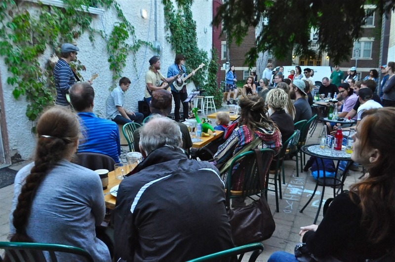 The courtyard was full for the outdoor concert