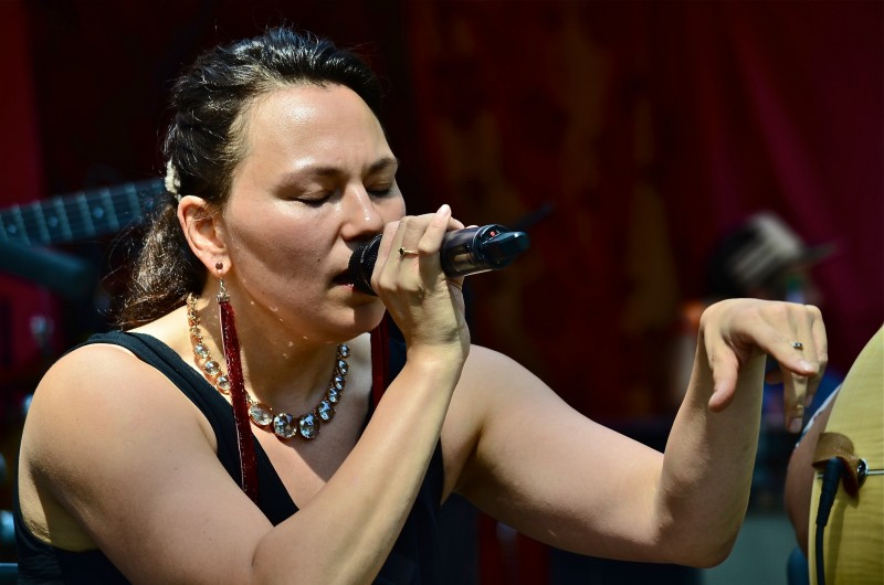 Tanya Tagaq shown here at the Women's Voices' workshop put on an amazing performance to close the festival