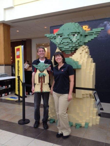Lego employees and their Yoda made from Lego. PHOTO: Helle Wilson