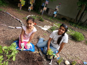 West Broadway kids' garden is one of many plots in the area.