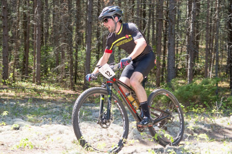 Chris Benson in the 'Needles' section at the Grand Beach Mountain Bike Race