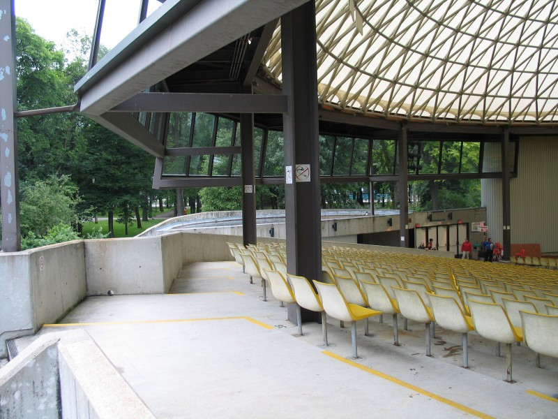 the inside left side of seating at Rainbow Stage