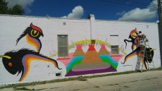 Cash Akoza's mural in progress, August 10, 2015 by C. Cassidy