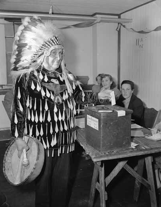 Alex Jacobs votes in the 1962 Canadian election. Aboriginal people were granted the right to vote in Canada in 1960.