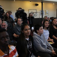 Shanelle Maytwayashing (fourth from the left) sits with her classmates at the To Vote or Not To Vote forum at the University of Winnipeg on Monday.
