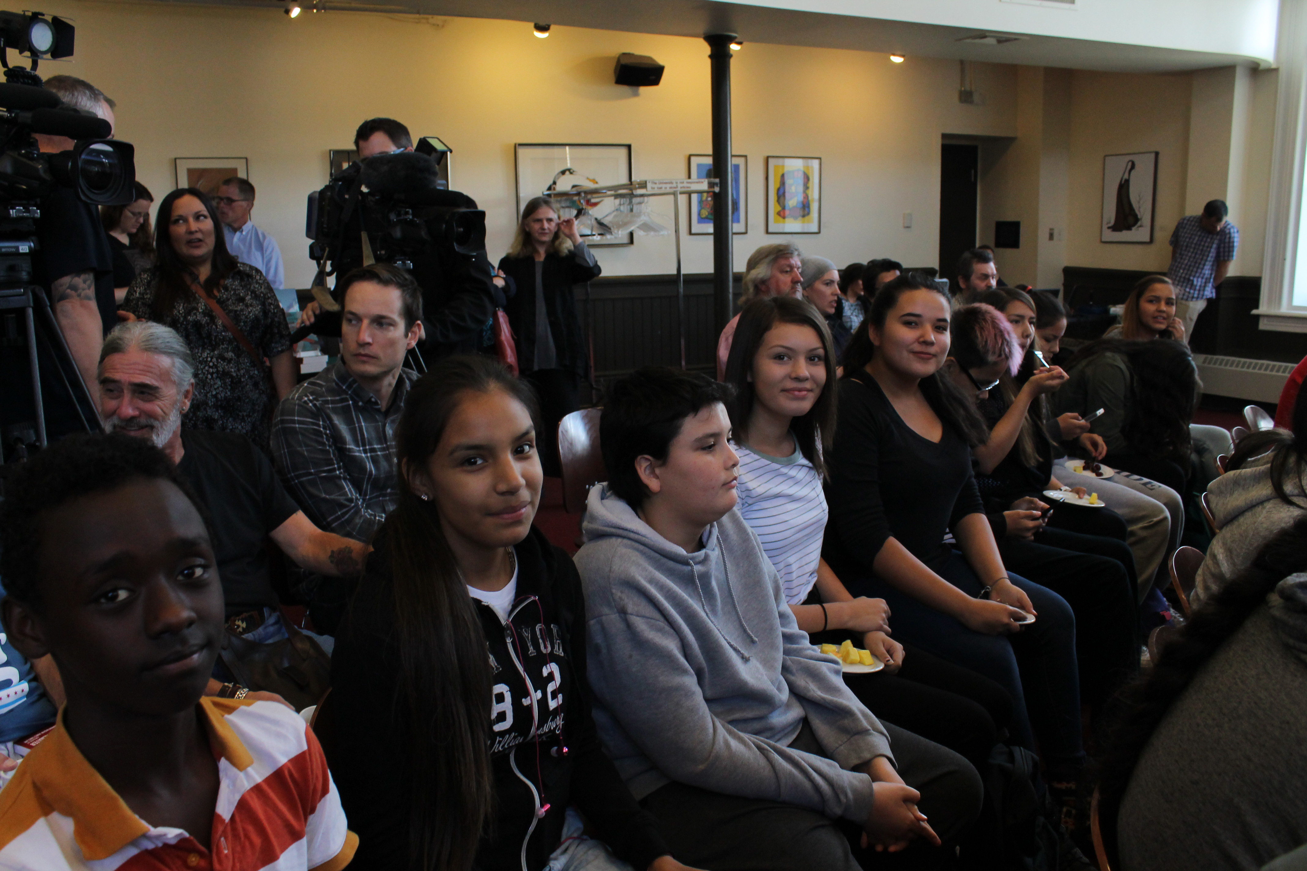 Shanelle Maytwayashing (fourth from left) sits with her classmates at the To Vote or Not To Vote forum at the University of Winnipeg on Mon. Sep. 14, 2015. PHOTO: Riley Chervinski