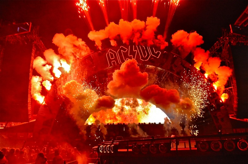 ACDC took to the stage with a cacophany of pyro, smoke and explosions