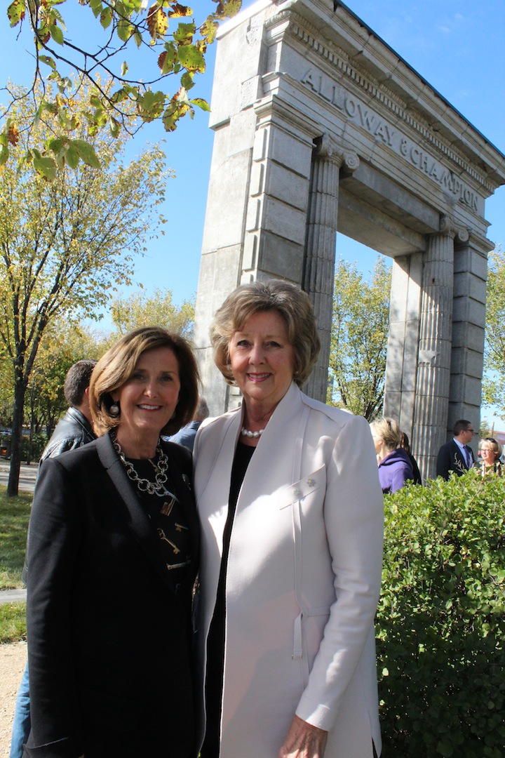 LtoR: Susan Millican, Chair of The Winnipeg Foundation and Hon. Janice Filmon in front of the Alloway Arch